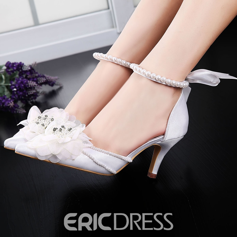 Ericdress Appliques Rhinestone Beads Lace-UpWedding Shoes