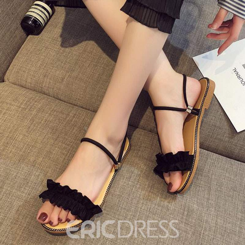 Ericdress Ruffles Suede Slip-On Flat Sandals