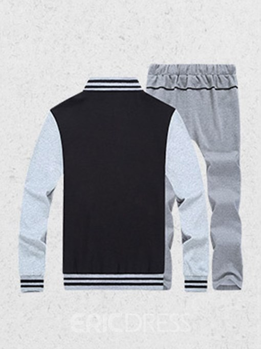Ericdress Letter Printed Color Block Mens Sports Suits