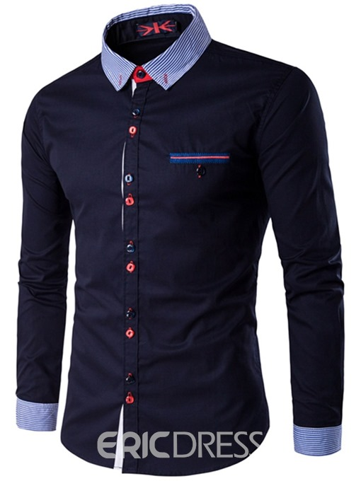 Ericdress Patchwork Plain Slim Fitted Button Down Mens Casual Dress Shirts