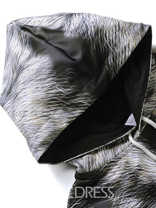 Ericdress Wolf Printed Pillover Hooded Mens Loose Casual Hoodies