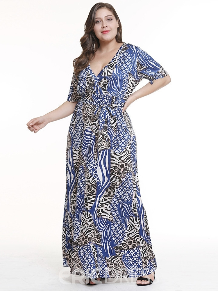 Ericdress Plus Size African Fashion Lace-Up Half Sleeve England Leopard Dress