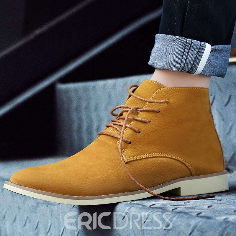 Ericdress Sewing Suede Lace-Up Front Men's Martin Boots