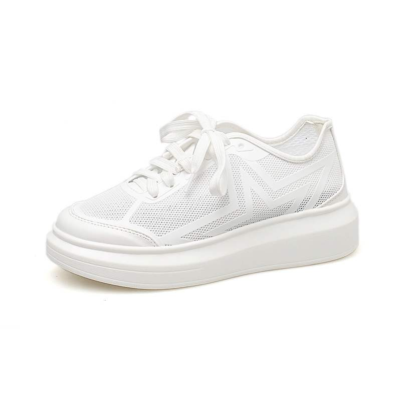 Ericdress White Mesh Lace-Up Platform Low-Cut Women's Sneakers