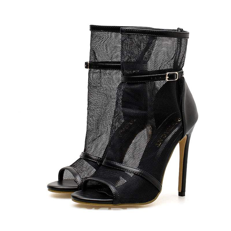 Ericdress Mesh Hollow PatchworkPeep Toe High-Cut Stiletto Sandals