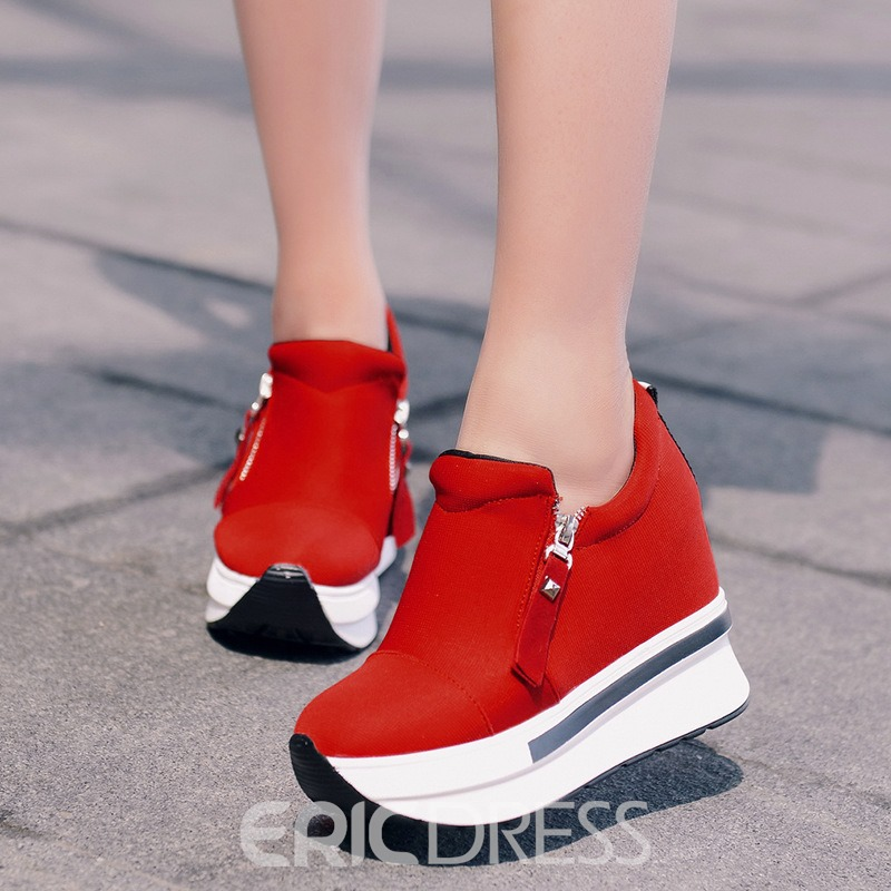 Ericdress Platform Zipper Hidden Elevator Heel Women's Sneakers