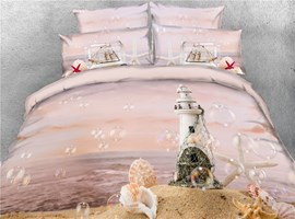 3D Beach Castle Starfish&Dreamy Bubble Cotton Printed 4-Piece Bedding Sets/Duvet Covers