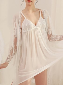 Ericdress See-Through Lace Babydoll and Robe Sexy 3 Pieces