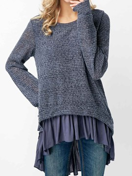 Ericdress Plain Ruffles Patchwork Mid-Length Knitwear