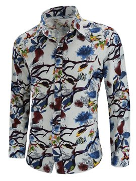 Ericdress Floral Printed Lapel Button Up Long Sleeve Mens Shirts