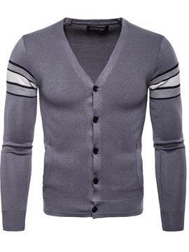 Ericdress Color Block V-Neck Slim Fitted Mens Cardigan Knitwear Sweaters