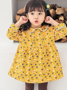Ericdress Floral Printed A-Line Long Sleeve Baby Girl's Casual Dress