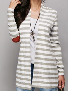 Ericdress Stripe Color Block Print Long Sleeves Trench Coat