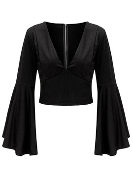Ericdress Notch-V Plain Zipper Flare Sleeve Womens Crop Top