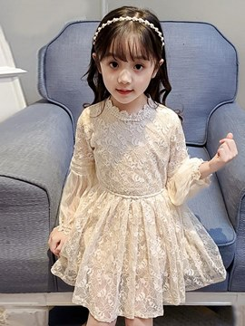 Ericdress Holoe Lace Floral Long Sleeve Flower Girl's Dress
