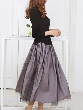 Ericdress Round Neck Mesh Long Sleeve Pleated Dress