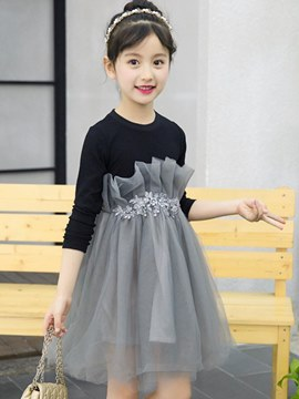 Ericdress Lace Mesh Patchwork Long Sleeve Girl's Casual Dress