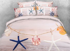 3D Starfish and Shells Clamped on a Rope Cotton Printed 4-Piece Bedding Sets/Duvet Covers