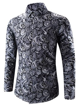 Ericdress Floral Printed Slim Long Sleeve Mens Casual Ball Shirts