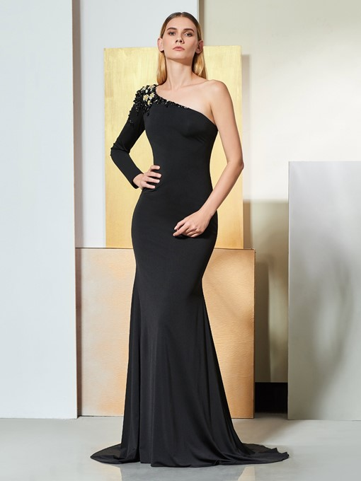 Ericdress Beaded One Shoulder Black Mermaid Evening Dress