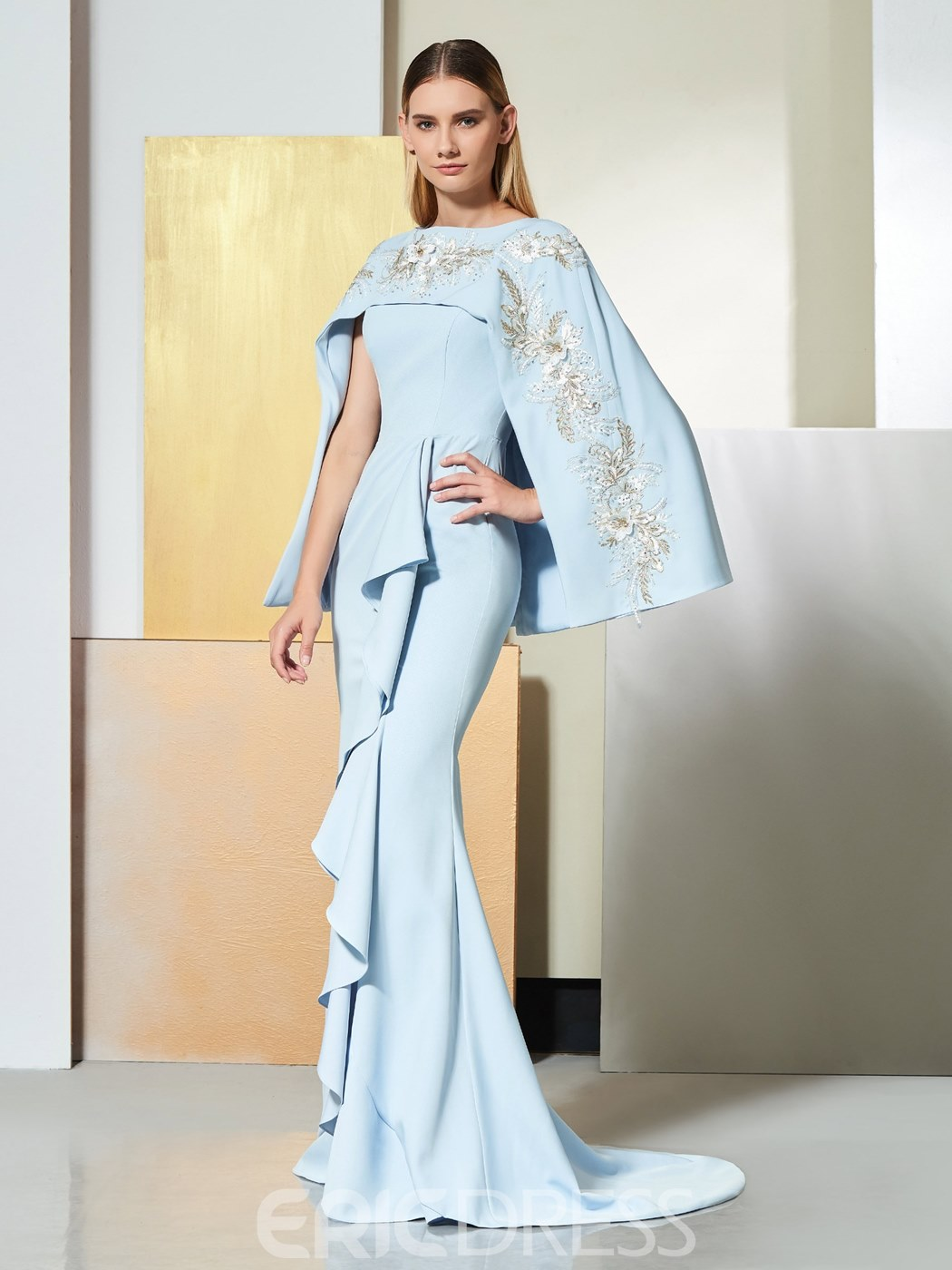 Ericdress Embroidery Mermaid Mother of the Bride Dress with Cape