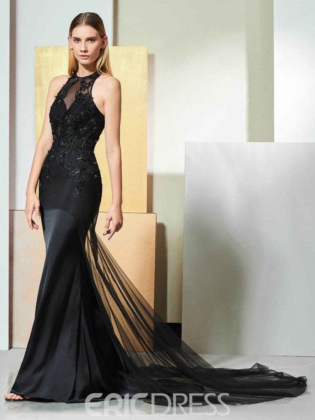 Ericdress Jewel Neck Beaded Black Mermaid Evening Dress