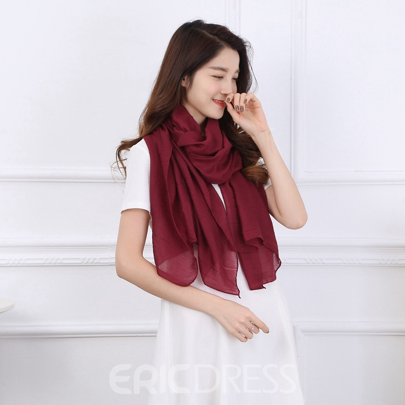 Ericdress Solid Color Cotton Scarf