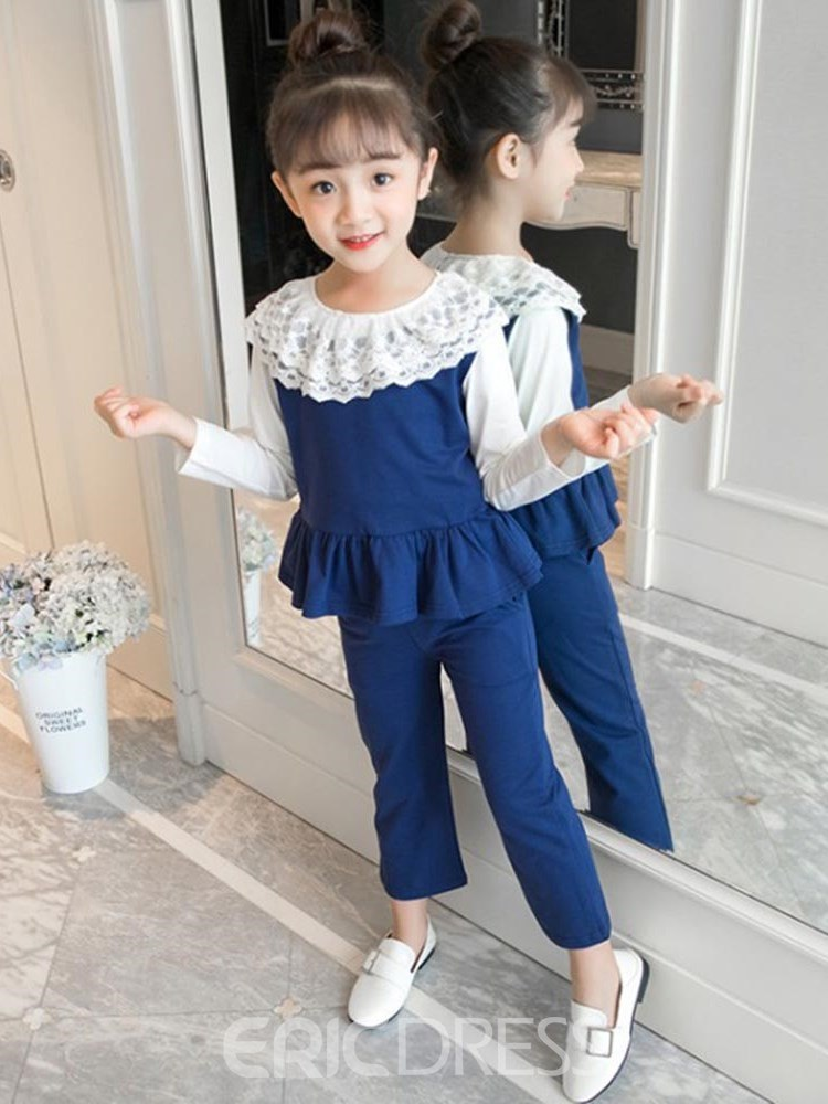 Ericdress Patchwork Lace Color Block Girl's 3 Pieces Outfits