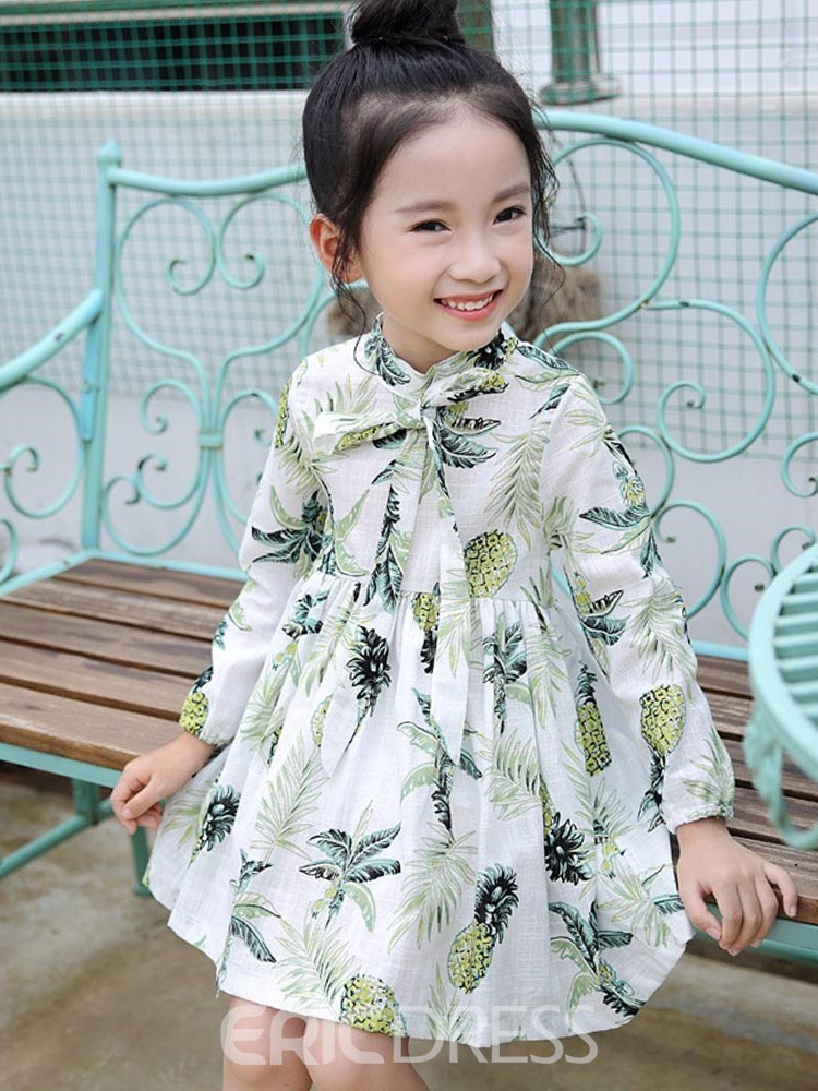 Ericdress Printed Pleated Bowknot Long Sleeve Girl's Casual Dress