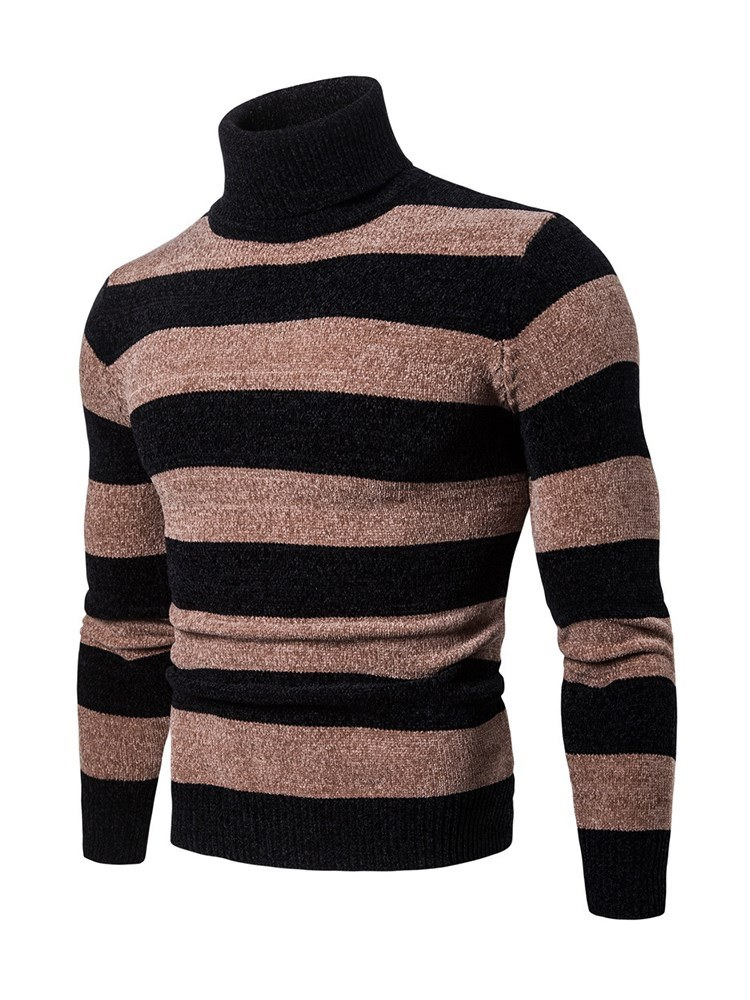 Ericdress Striped Patchwork Pullover Mens Slim Casual Sweaters