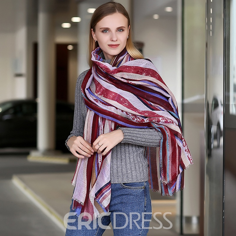 Ericdress Linen Striated Scarf For Women