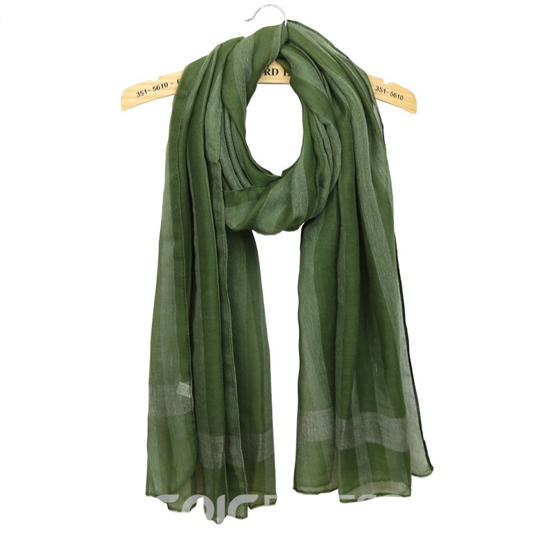 Ericdress Cotton Solid-Colored Striated Scarf For Women