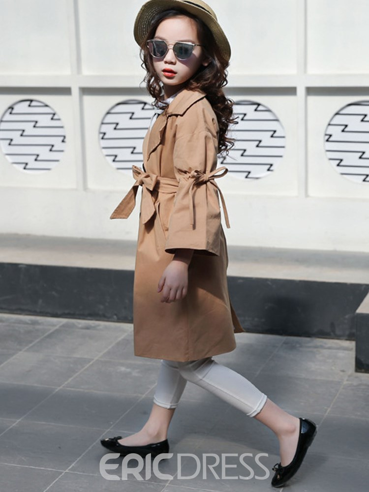 Ericdress Pleated Lace-Up Bowknot Flare Sleeve Slim Girl's Trench Coat