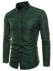 Ericdress Polka Dots Green Slim Fit Mens Casual Dress Shirts фото