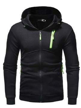 Ericdress Plain Zipper Hooded Cardigan Mens Casual Hoodies