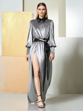 Ericdress Chic A Line Long Sleeve Split Side Long Evening Dress