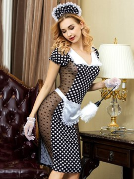 Ericdress Short Sleeve Polka Dots Sexy Maid Costume