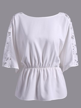 Ericdress Loose Tunic Hollow Short Sleeve Womens Top