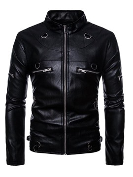 Ericdress Black Stand Collar Zipper Mens Casual Cool PU Leather Jacket