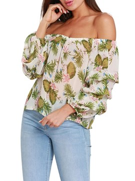 Ericdress Off Shoulder Casual Print Long Sleeve Blouse