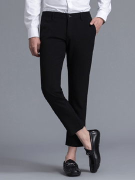 Ericdress Plain Pocket Straight Mens Casual Cropped Dress Pants