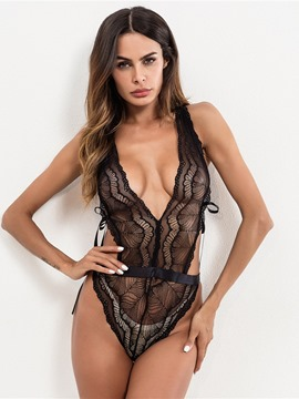 Ericdress Sexy Lingerie Cross Strap Bowknot Backless Teddy Bodysuit