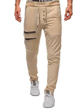 Ericdress Lace Up Zipper Slim Mens Casual Pencil Pants