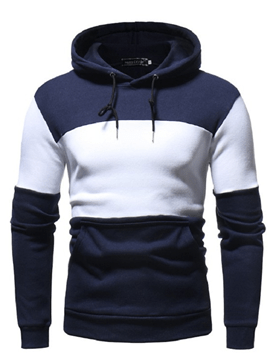 Ericdress Color Block Slim Fitted Hooded Pullover Mens Casual Hoodies