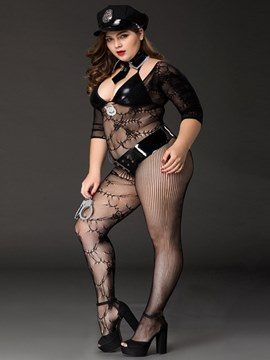 Ericdress Fishnet See-Through Police Costume Body Stockings