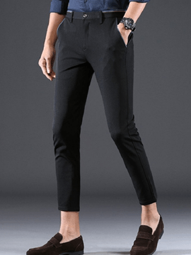 Ericdress Plain Straight Mens Cropped Dress Pants