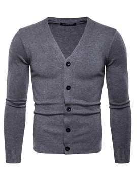 Ericdress V-Neck Plain Slim Fit Long Sleeve Button Mens Casual Sweaters