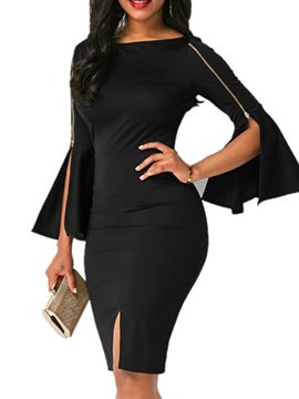 Ericdress Bodycon Knee-Length Zipper Women's Dress