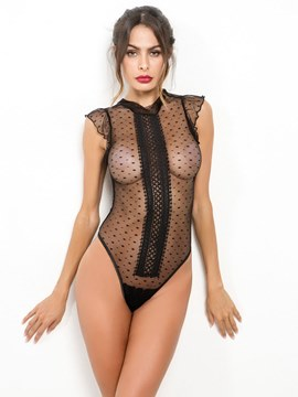 Ericdress Polka Dots Vertical stripes See-Through Sexy Teddy Bodysuit