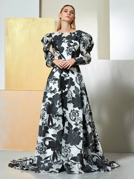 Ericdress A Line Long Sleeve Print Evening Dress
